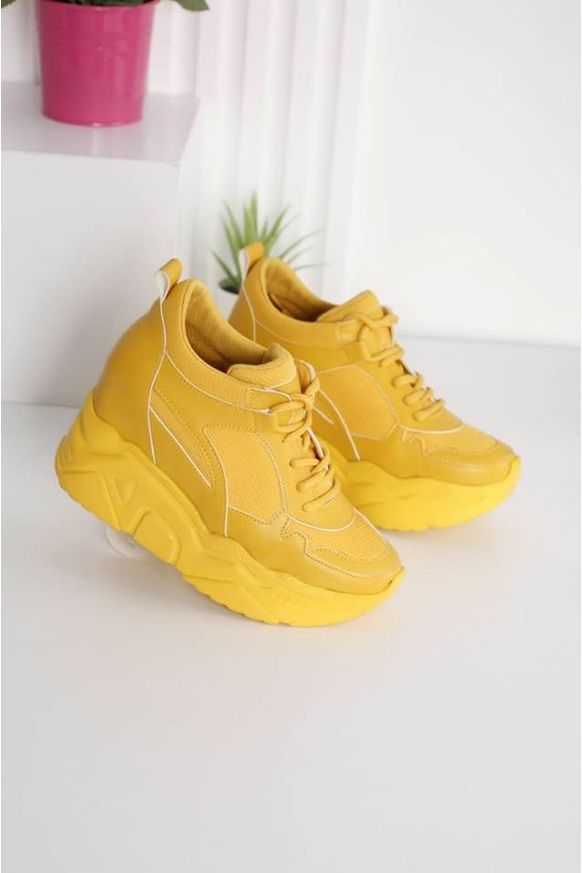 Showy Sarı Platform Spor Ayakkabı