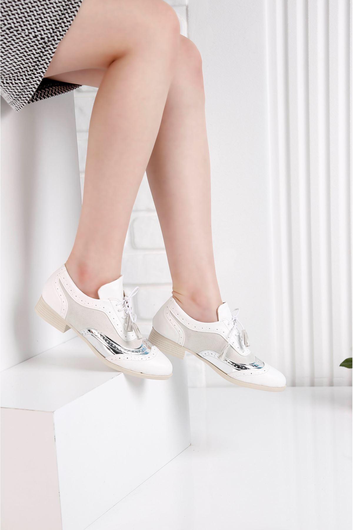 Oxford  Günlük Beyaz Ayna Detay Kadın Ayakkabı