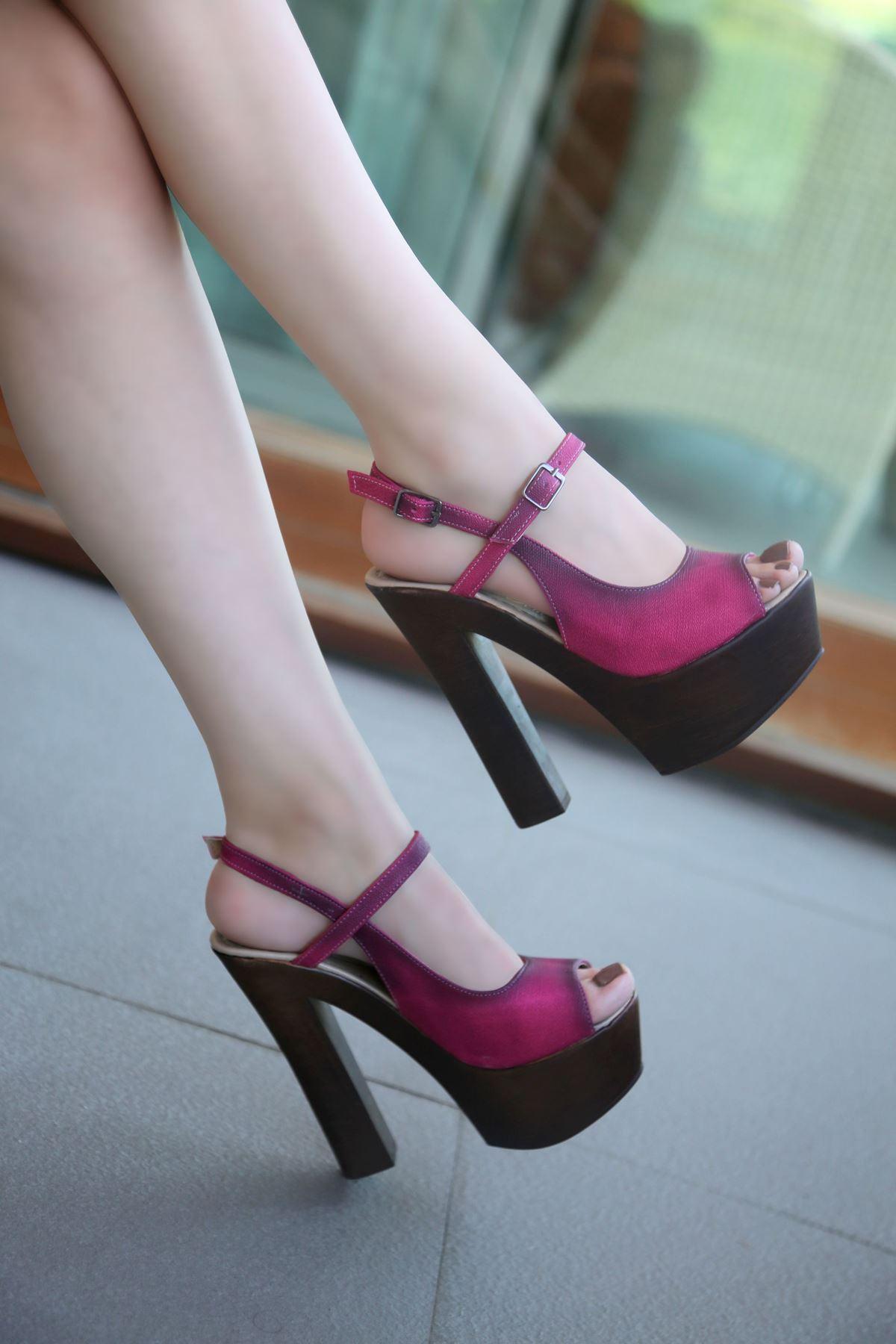 HYACINTH Fuşya Platform Topuklu Ayakkabı