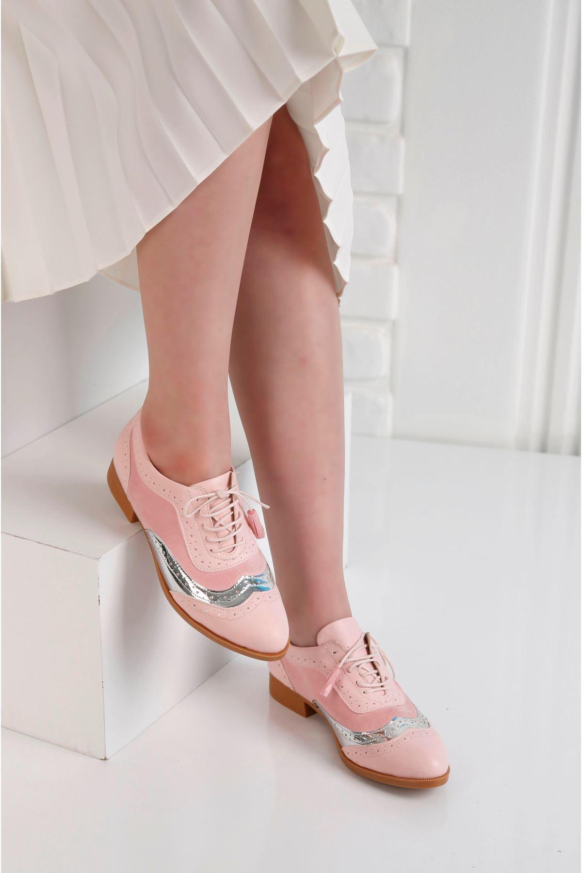 Oxford Günlük Pembe Ayna Detay Kadın Ayakkabı