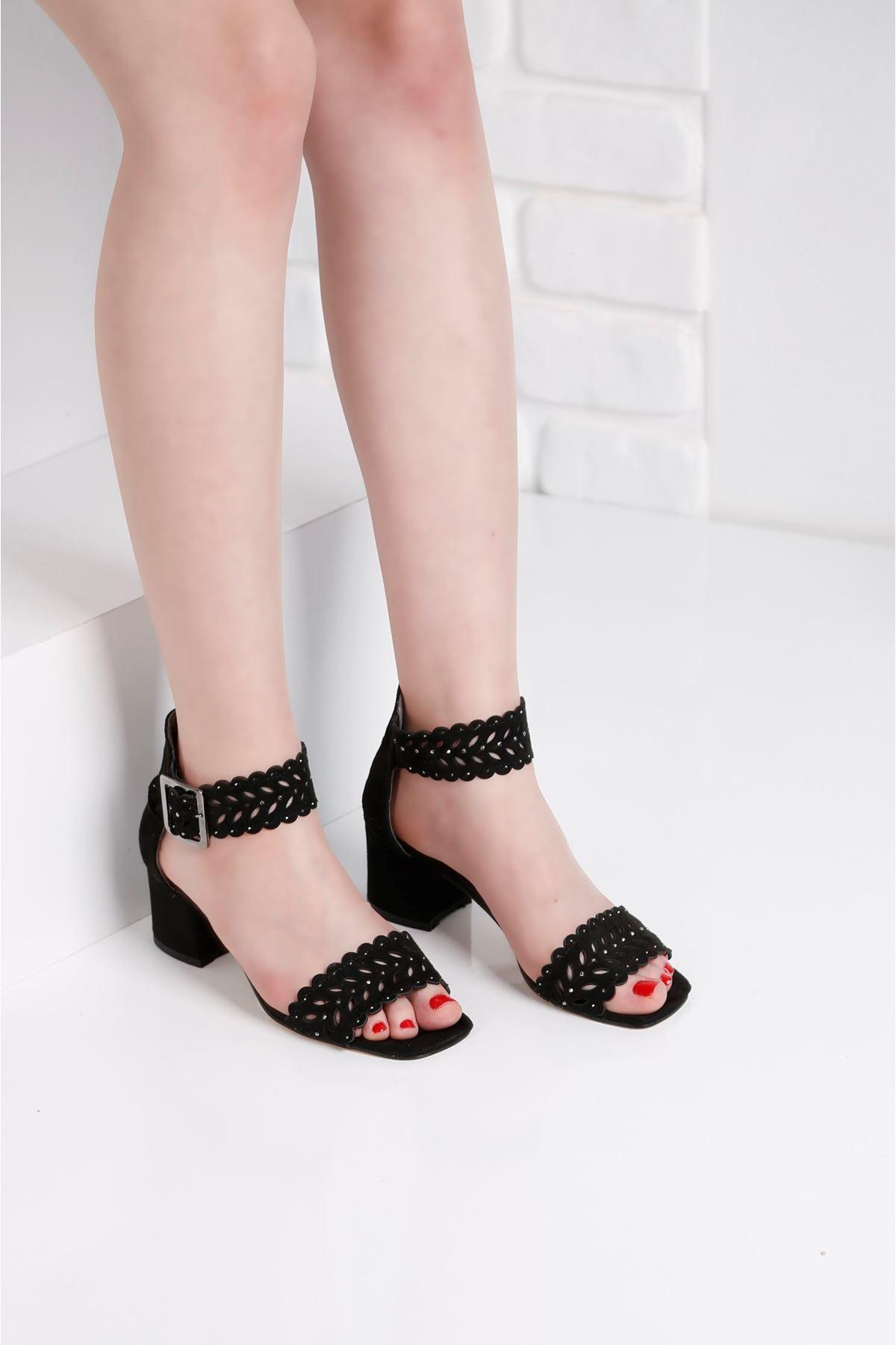 Ribbon Siyah Taş Kaplama Lazer Kesim Ayakkabı