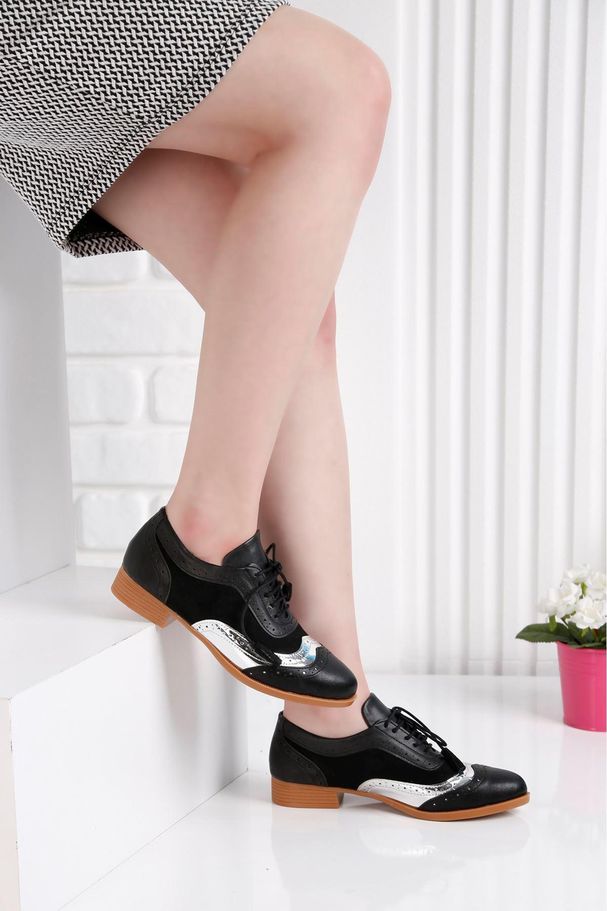 Oxford Günlük Siyah Ayna Detay Kadın Ayakkabı