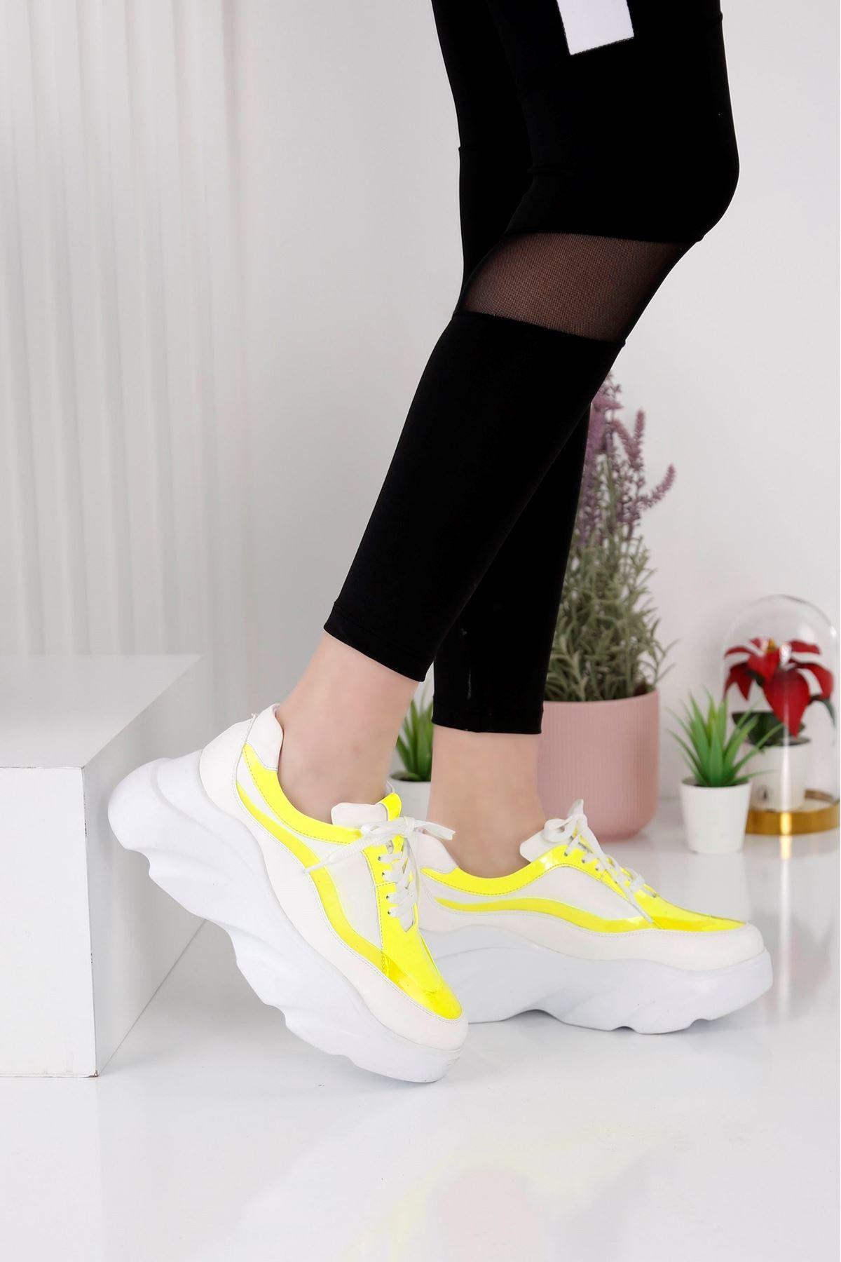 Wind Beyaz Sarı Spor Ayakkabı