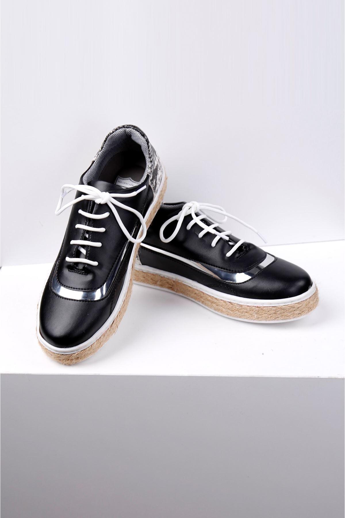 WICKER Siyah Hasır Taban Spor Ayakkabı