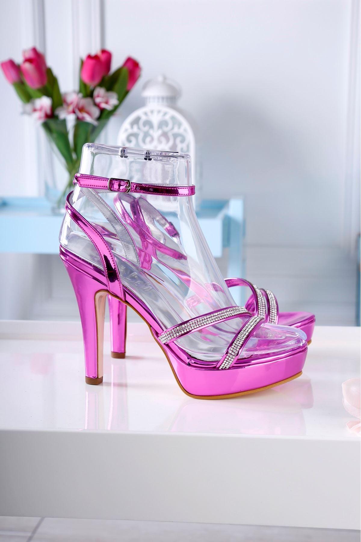 ZALY Mor Taş Kaplama Topuklu Ayakkabı