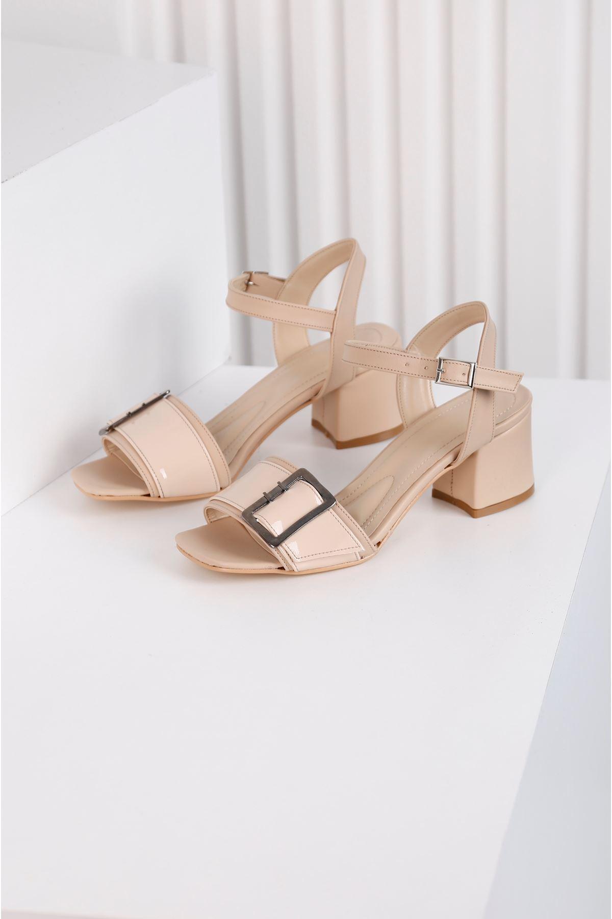 Klaris 3828 - Kadın Topuklu Vizon Ayakkabı