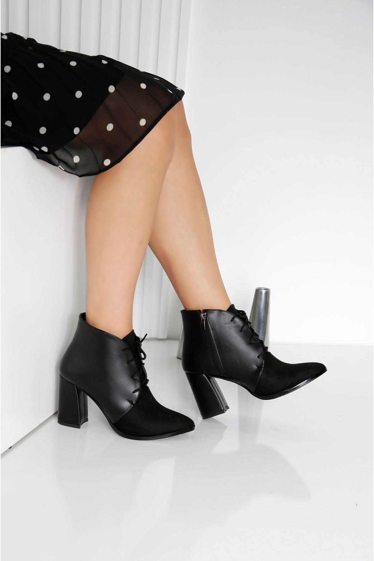REAL Siyah Kadın Topuklu Bot