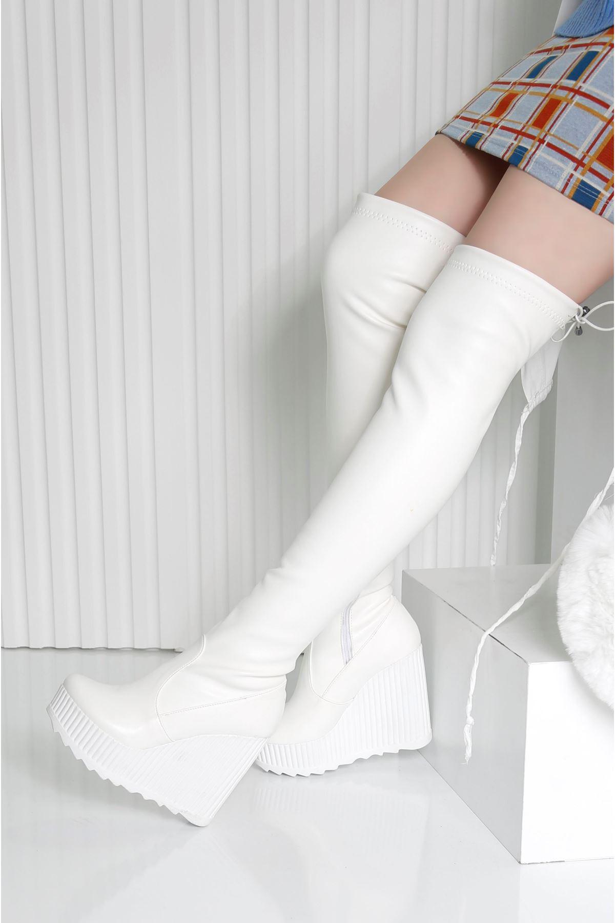 ARES Beyaz Kadın Diz Üstü Streç Çizme