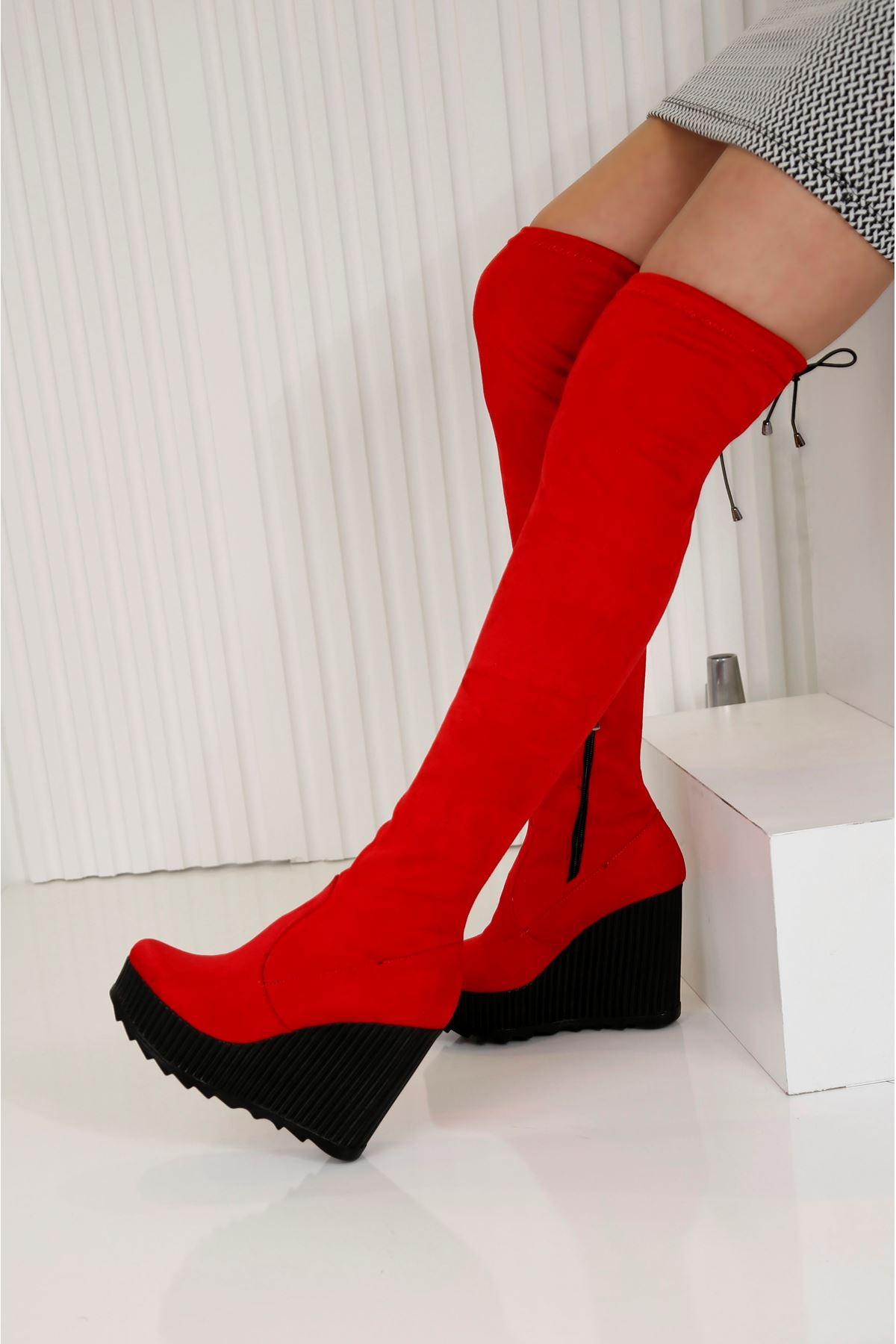 ARES Kırmızı Süet Kadın Diz Üstü Streç Çizme