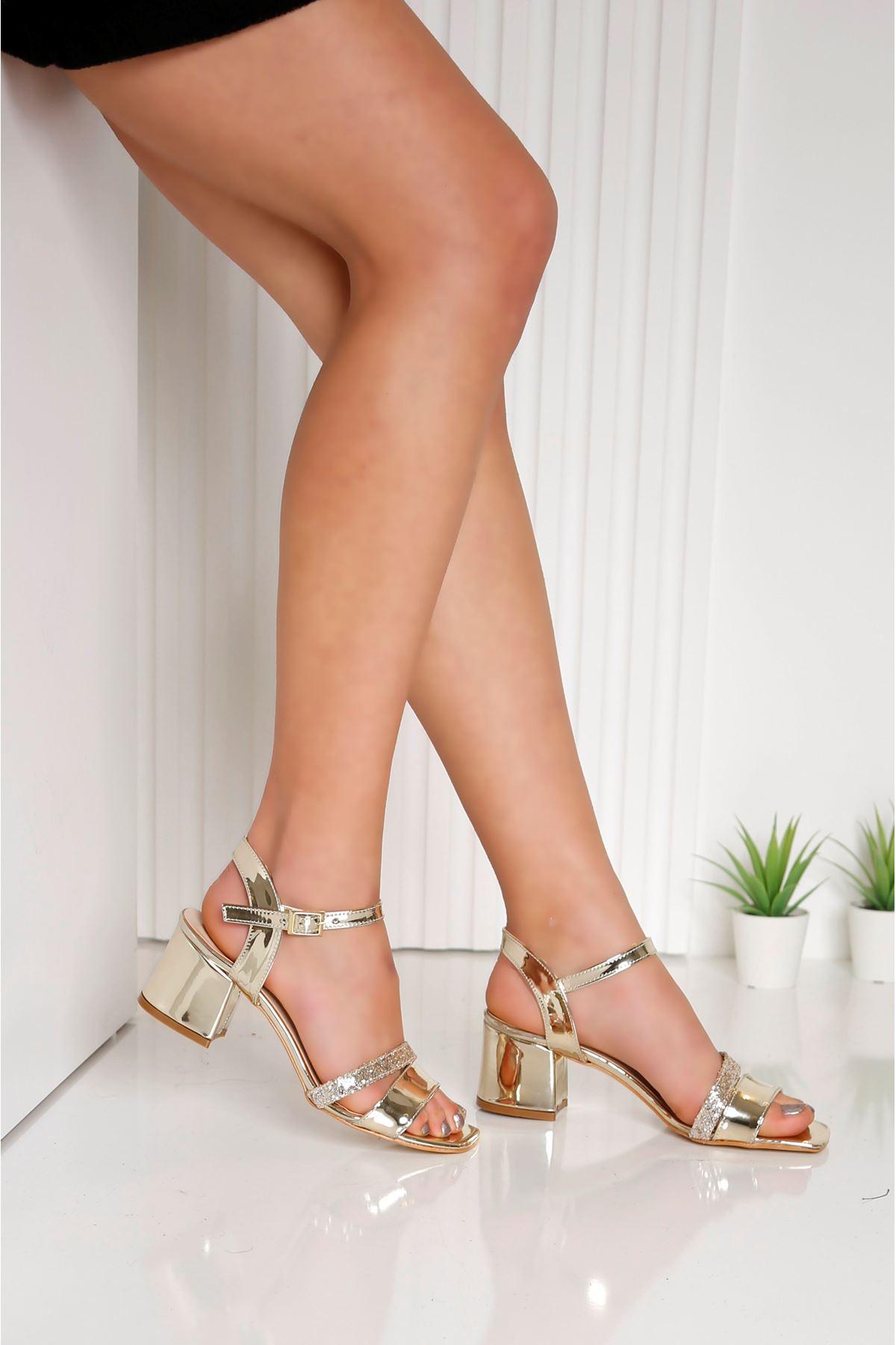 Flower Topuklu Gold Ayakkabı