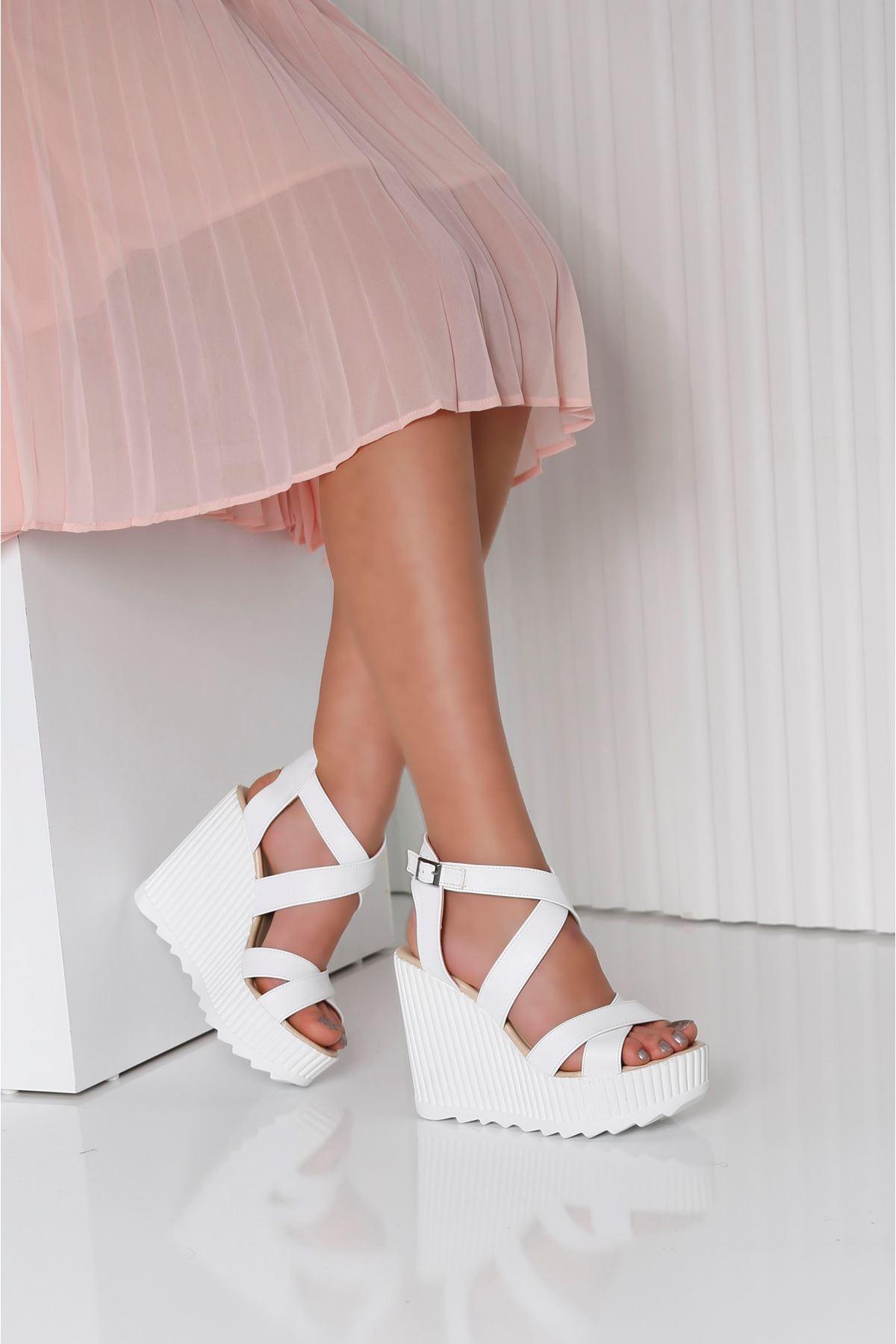 FALICIA Beyaz Cilt Kadın Platform Ayakkabı