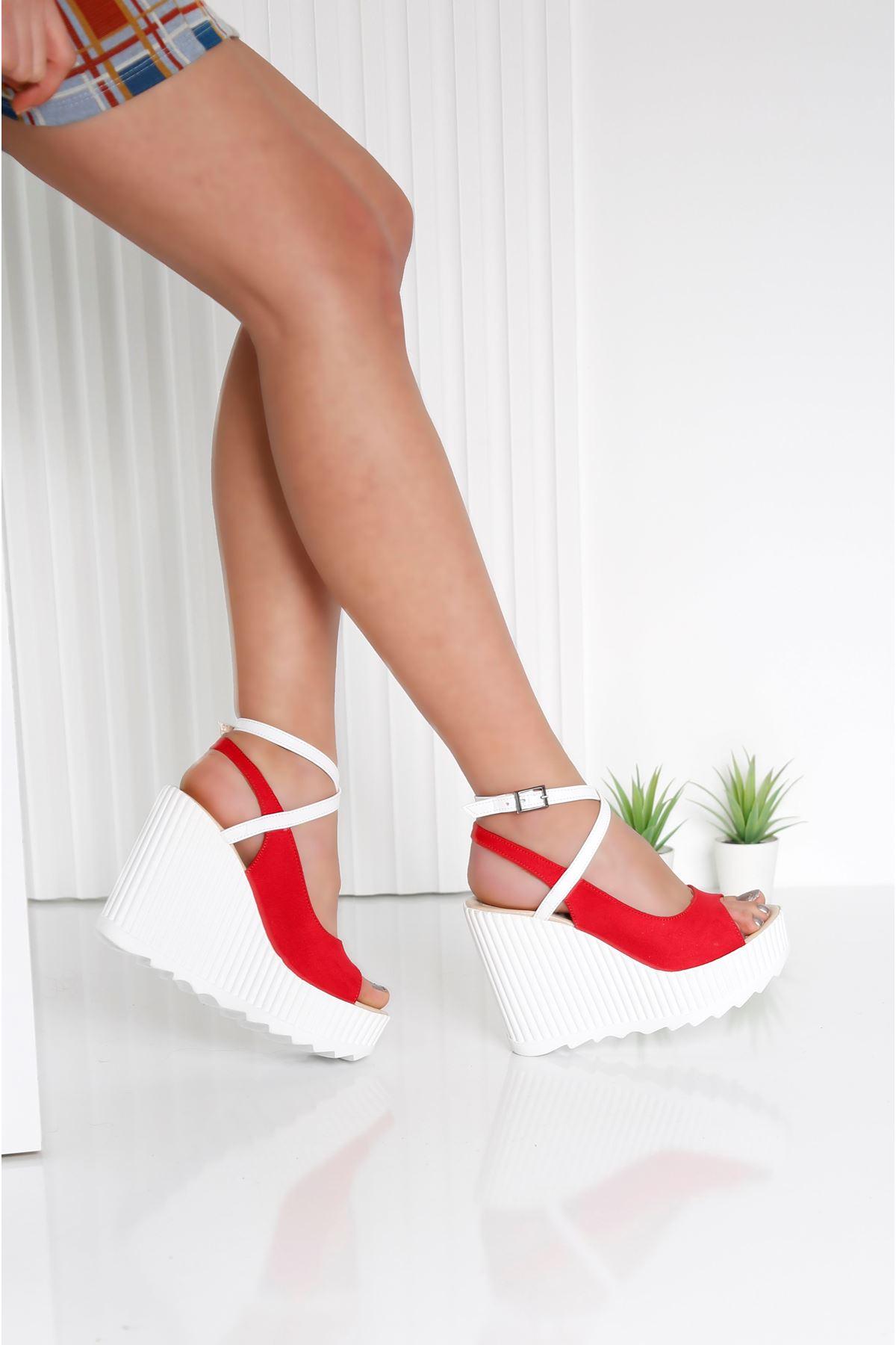 CLARIS Kırmızı Kadın Platform Ayakkabı