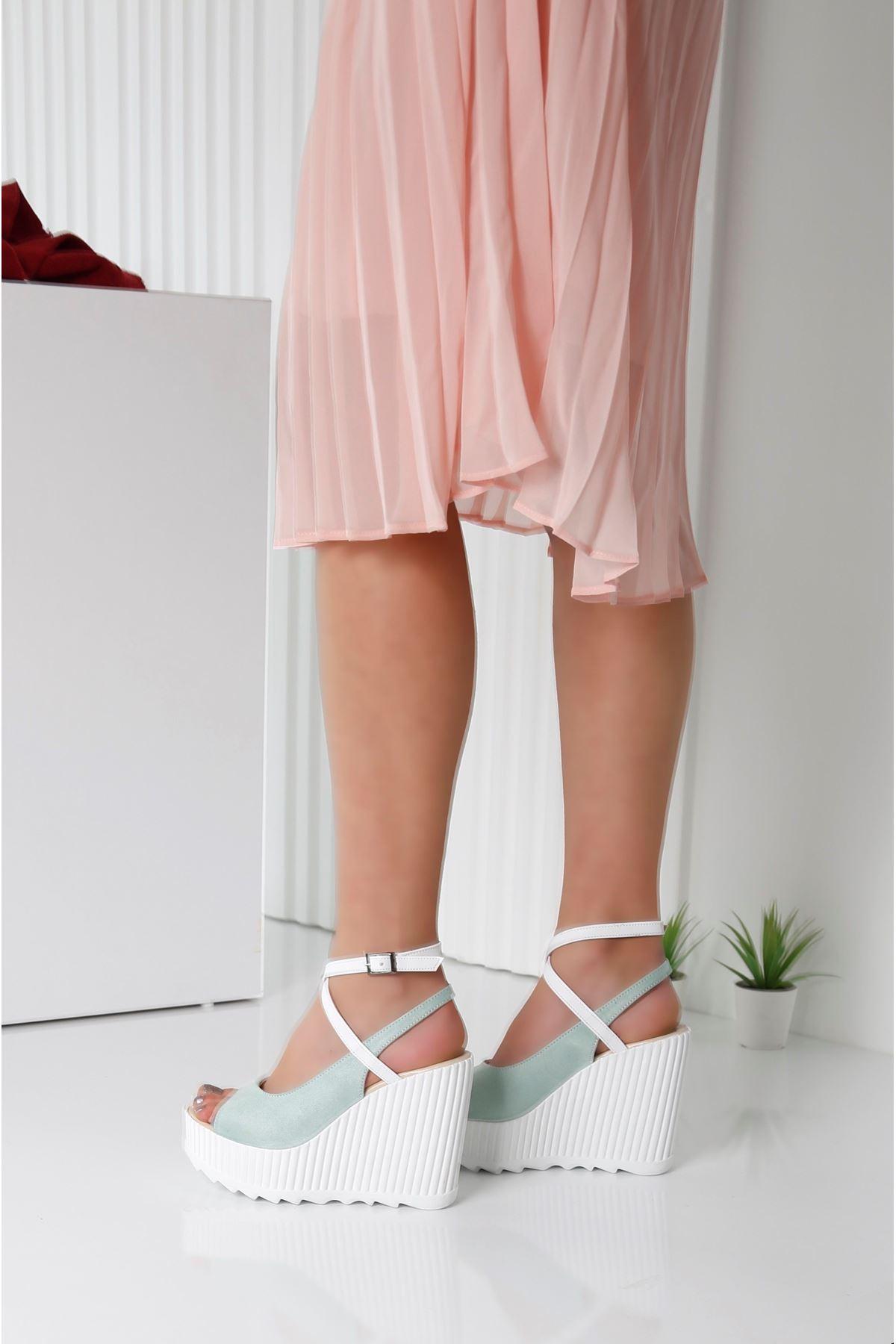 CLARIS Yeşil Kadın Platform Ayakkabı