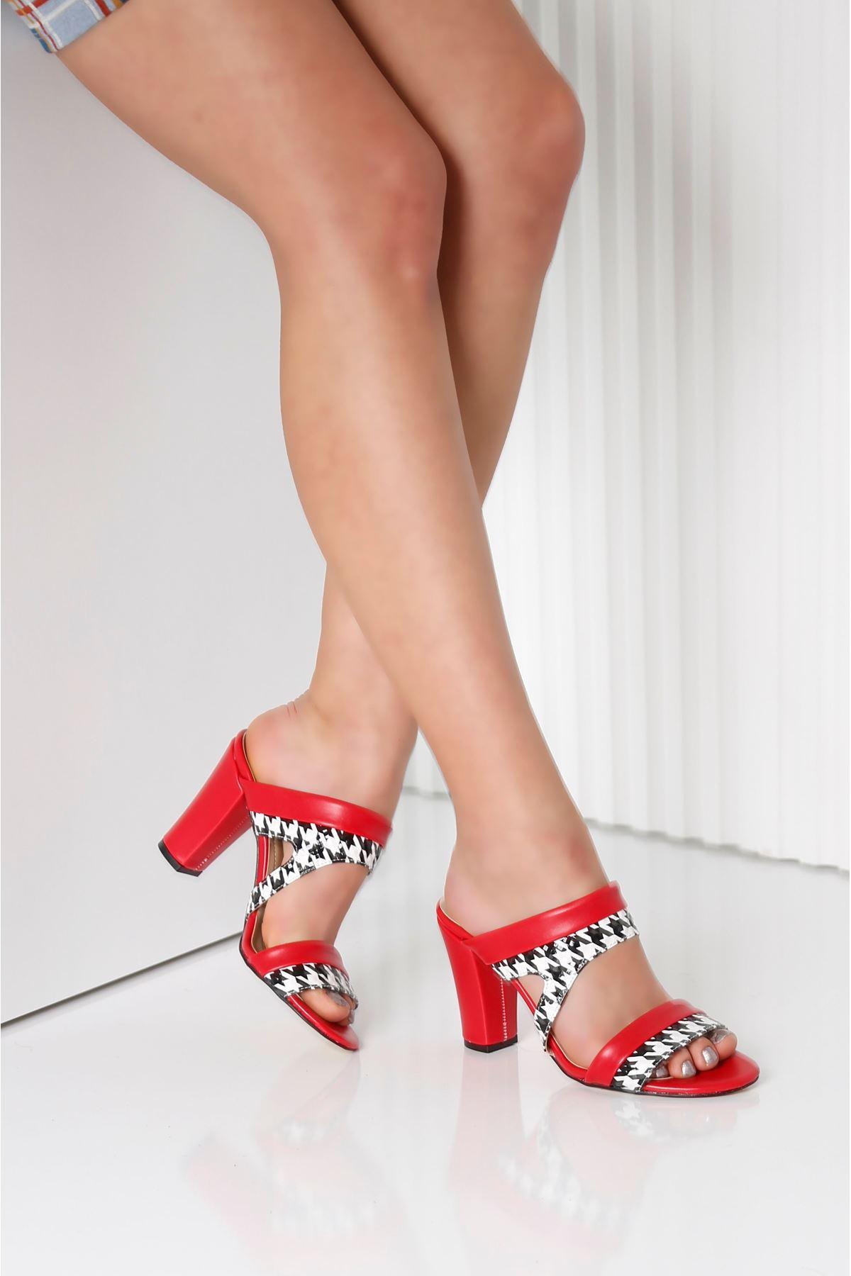 EDINA Kırmızı Topuklu Kadın Terlik