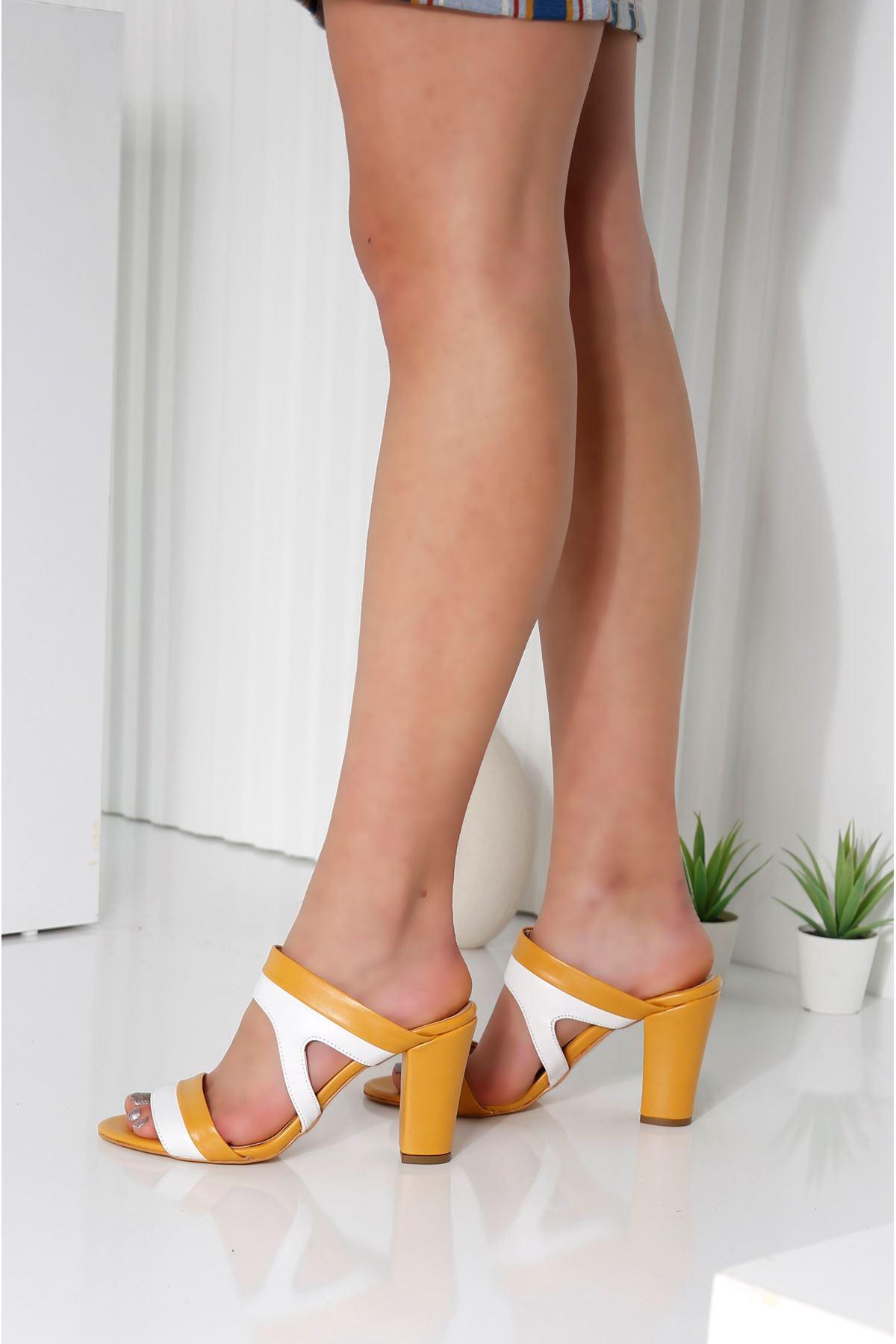 EDINA Sarı Topuklu Kadın Terlik