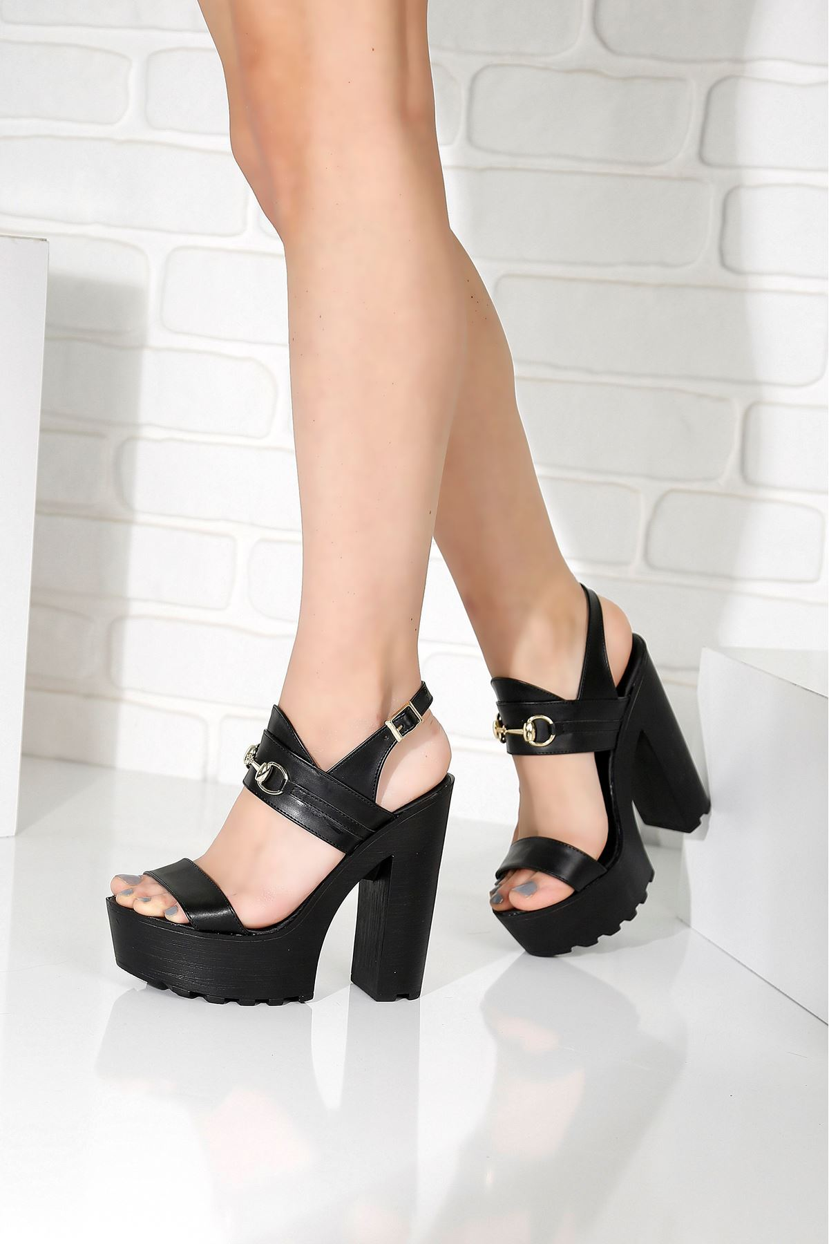 KLEOPATRA Siyah Topuklu Kadın Ayakkabı
