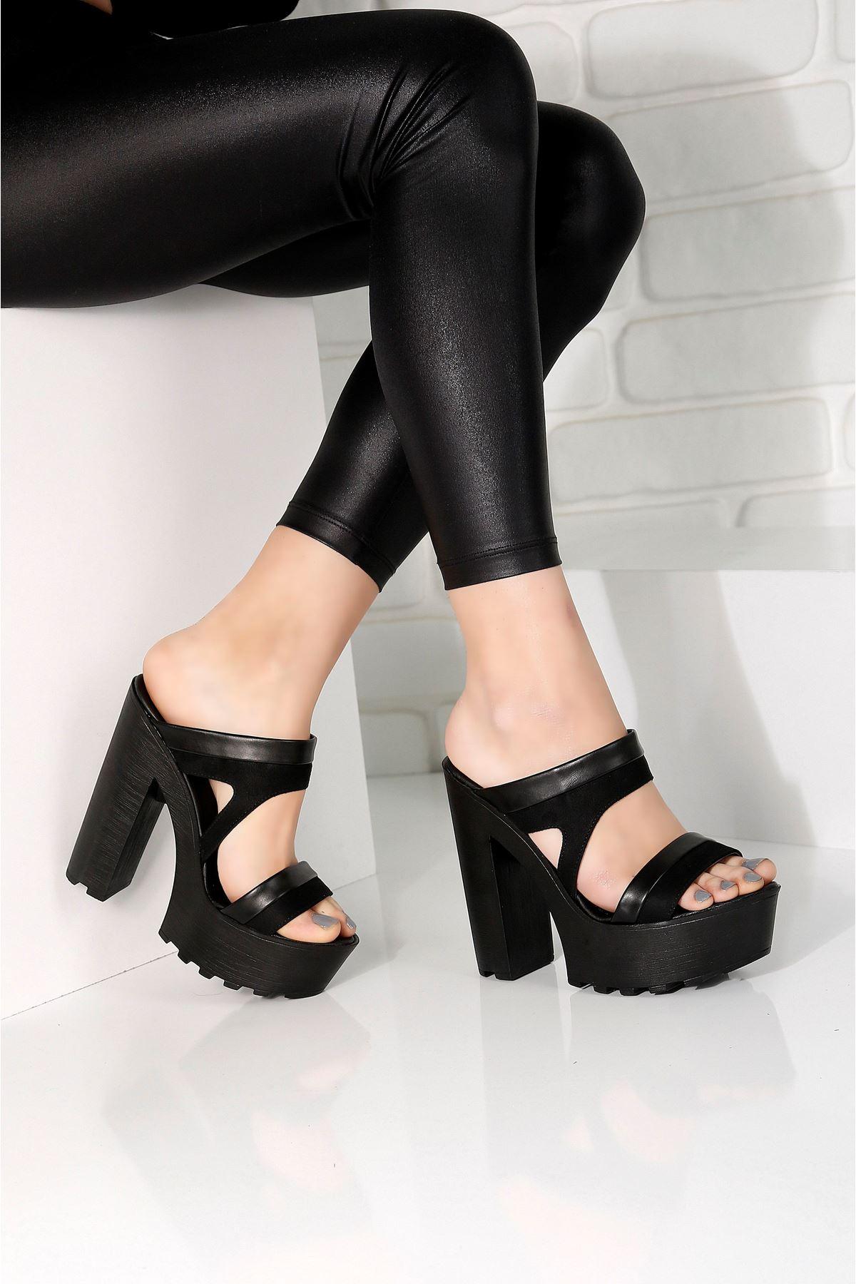 LAWIN Siyah Topuklu Kadın Terlik