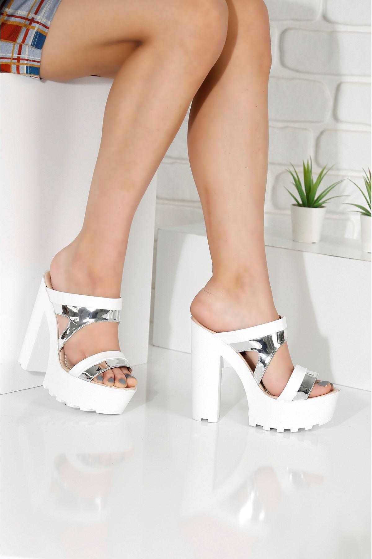 LAWIN Beyaz-Gümüş Topuklu Kadın Terlik