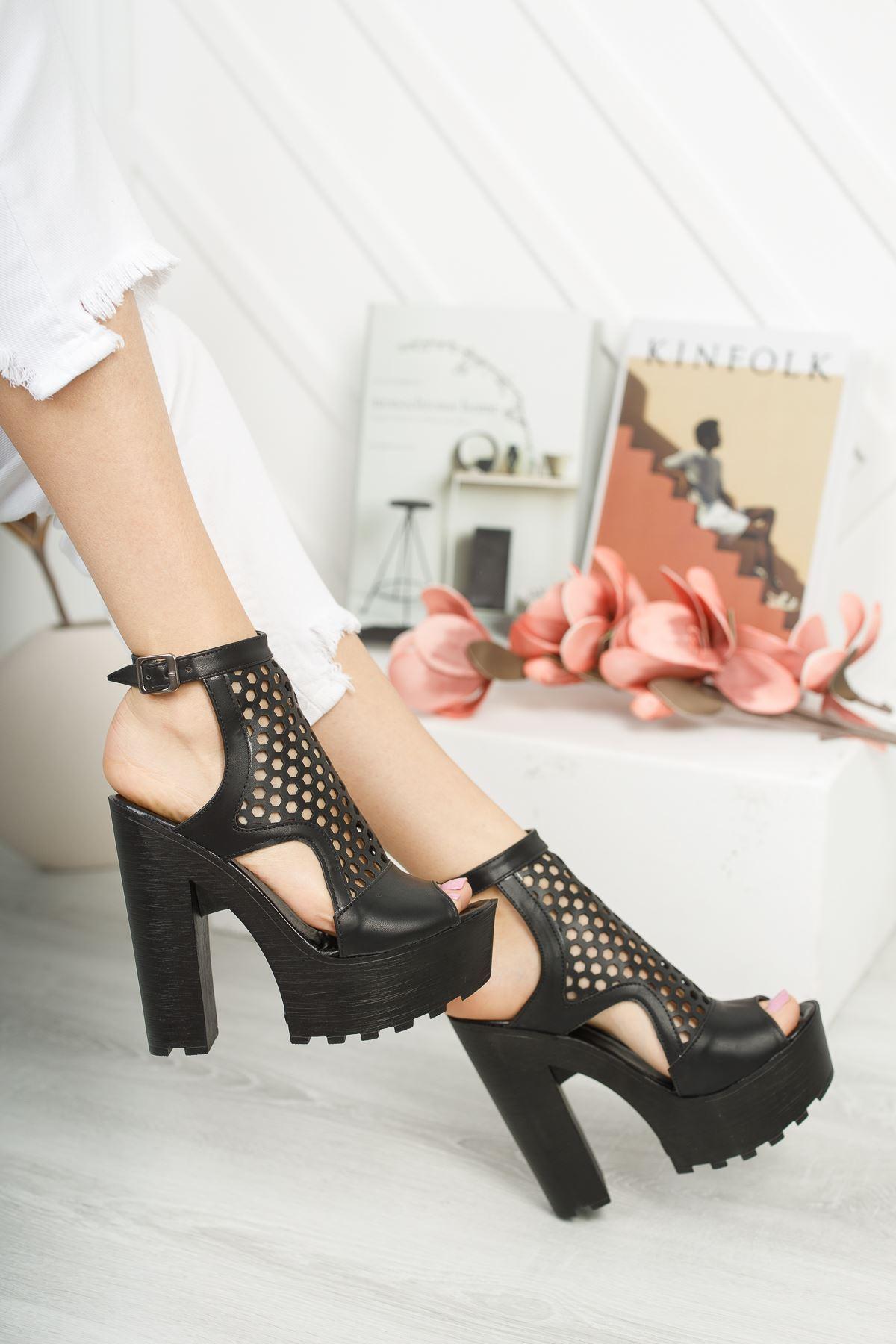 KESSAN Siyah Topuklu Kadın Ayakkabı