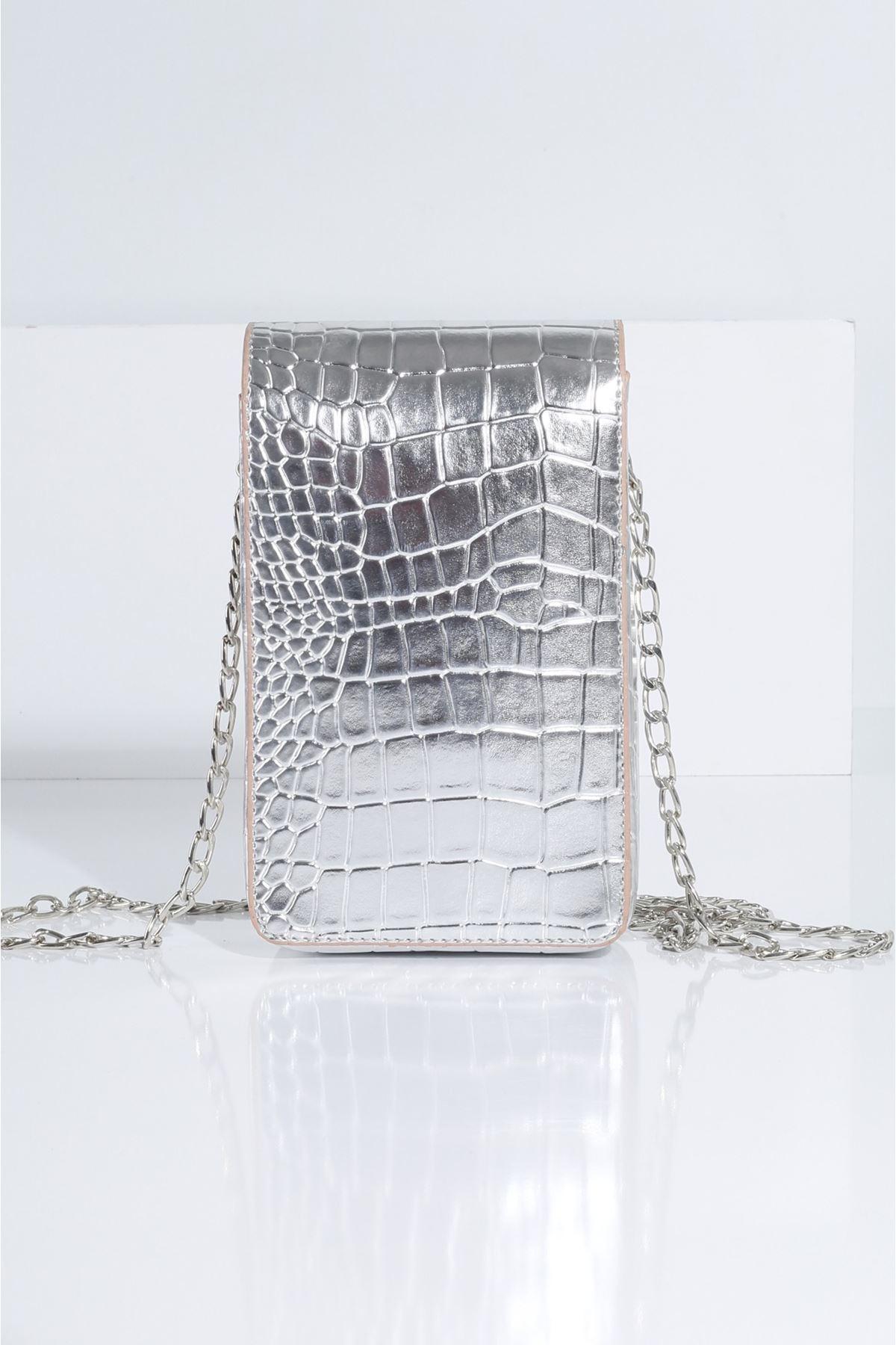 DOVO Gümüş Krokodil Kadın Çanta